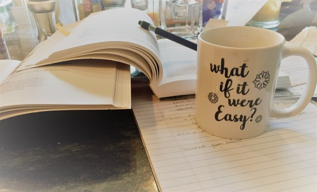 Jennifer's What If It Were Easy coffee mug helps with business planning