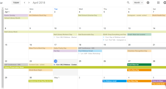 Google Calendar content marketing plans color coded