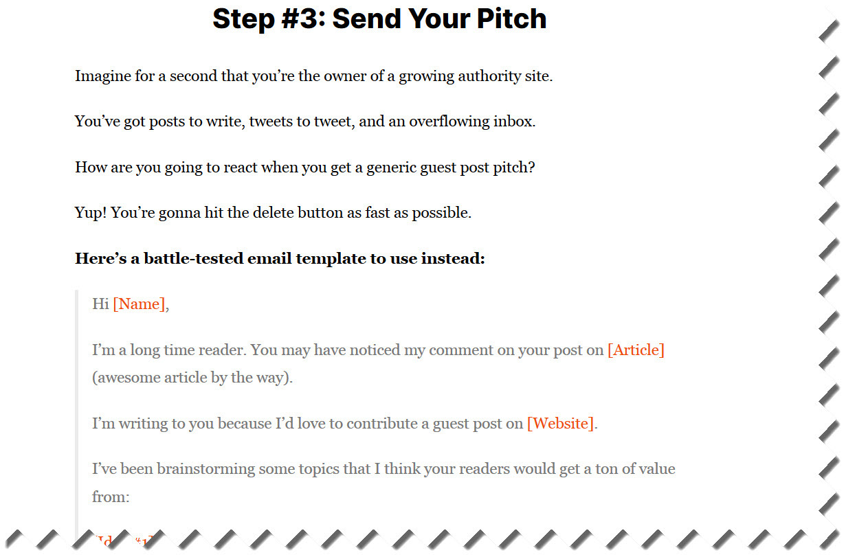 Backlinko Brian Dean email template snippet for guest posts