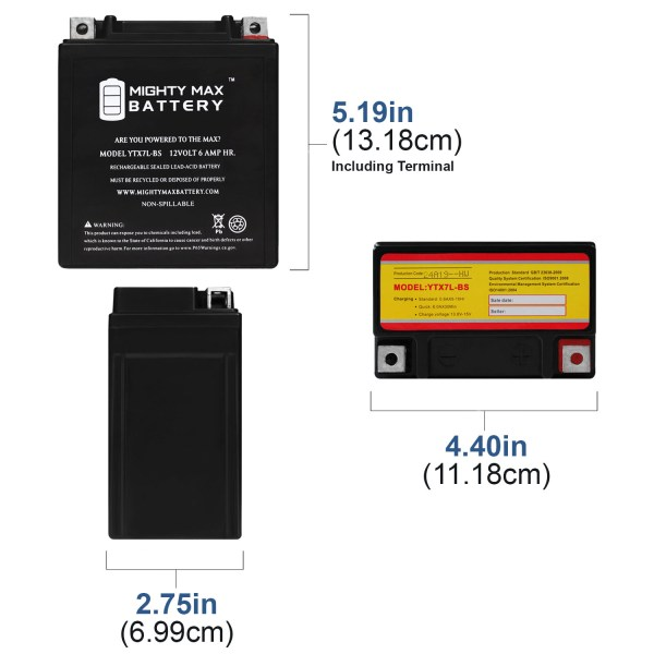 YTX7L-BS 12V 6Ah Replacement Battery for Honda 250 CRF250L 13-19