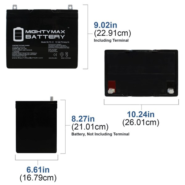 12V 75Ah Battery Replacement for Grape Solar 300W Off Grid Kit