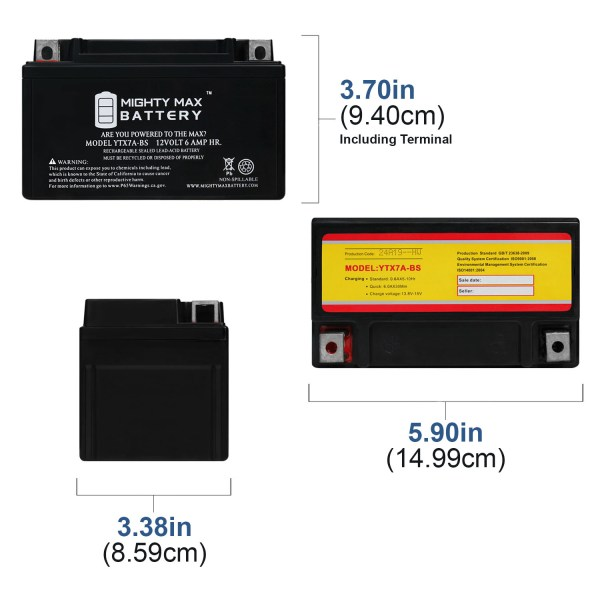 YTX7A-BS Battery Replacement for ATV All Terrain Vehicle