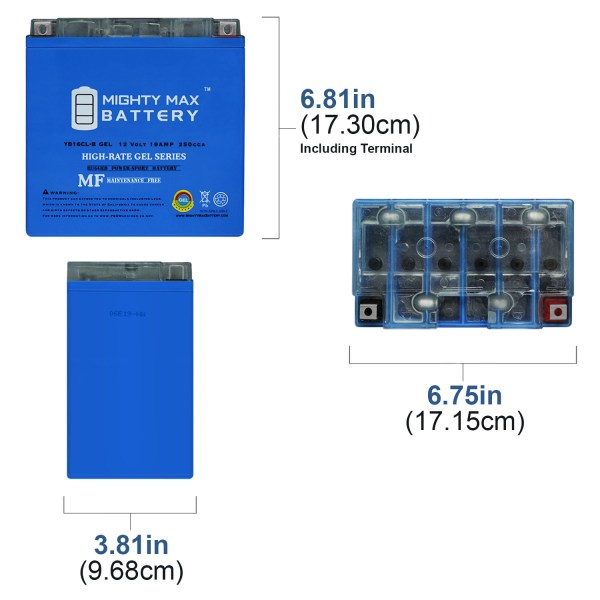 YB16CL-B GEL 12V 19AH Battery Replacement for Yamaha 1800 FZS 13-18