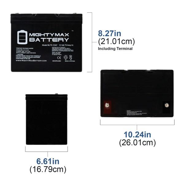 12 Volt 75 AH SLA Internal Thread Battery
