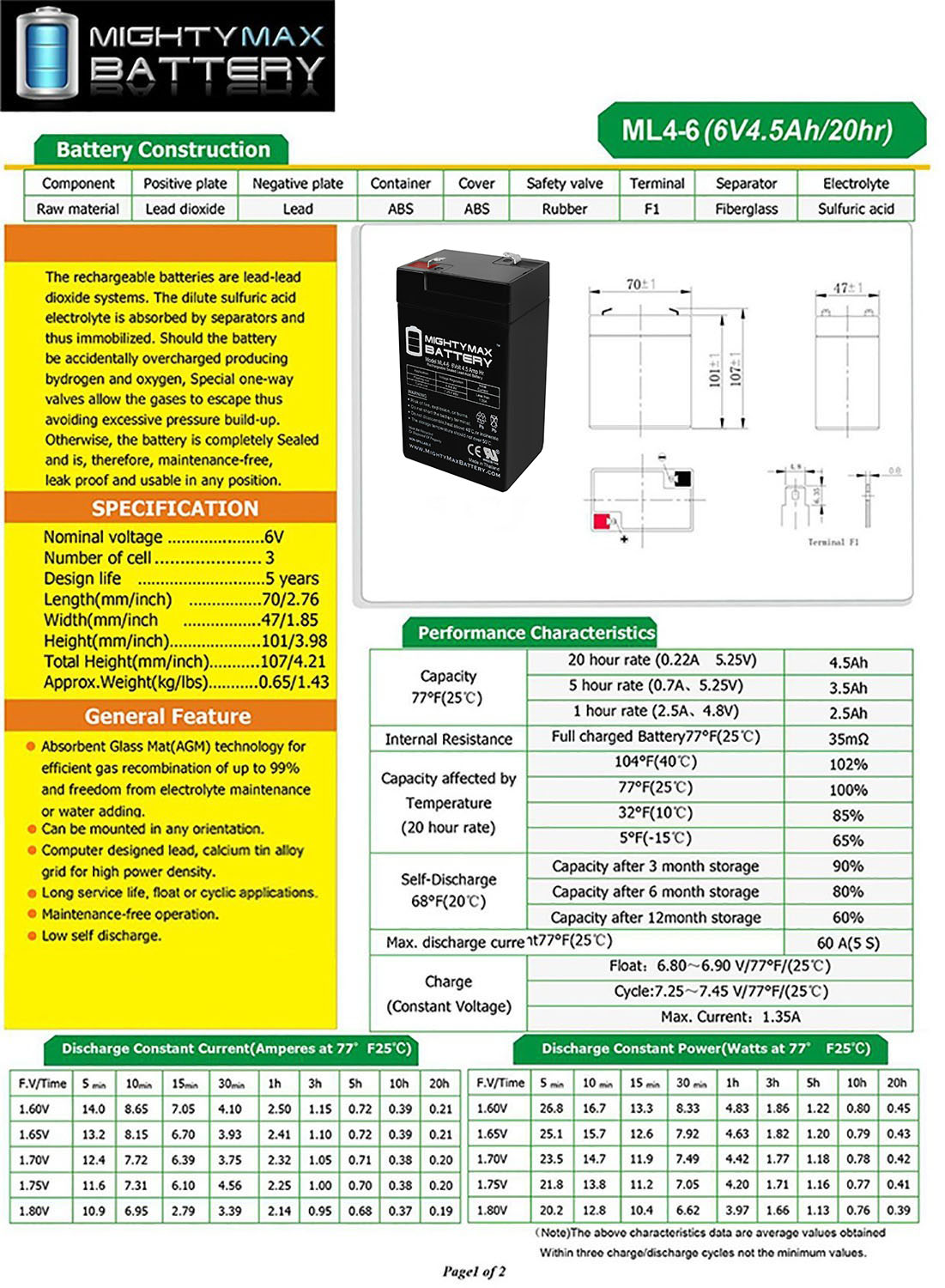 Mighty Max Battery 6V 4.5Ah Battery for Chloride,1000010149,1000010162,1000001067 Brand Product