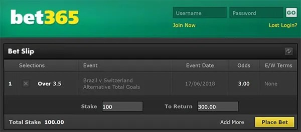 Brazil vs Switzerland Bet on Goals