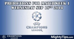 Champions League Matchweek 1 Wednesday Prediction and Betting Tips