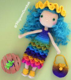 Anneko poupée look estival cheveux verts - Jolie poupée au crochet - Poupée décorative collection - MignonCrochet Designer ByErikaDU 7