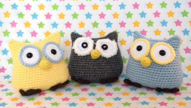 Chouette crochet owl gris bleu jaune 3