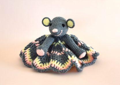mouse lovey doudou souris gris jaune baby shower gift cadeau naissance 5ter