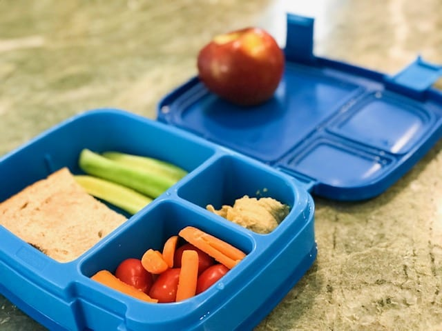Blue bentgo box with fruit, veggies and sandwich helps while parenting with migraine
