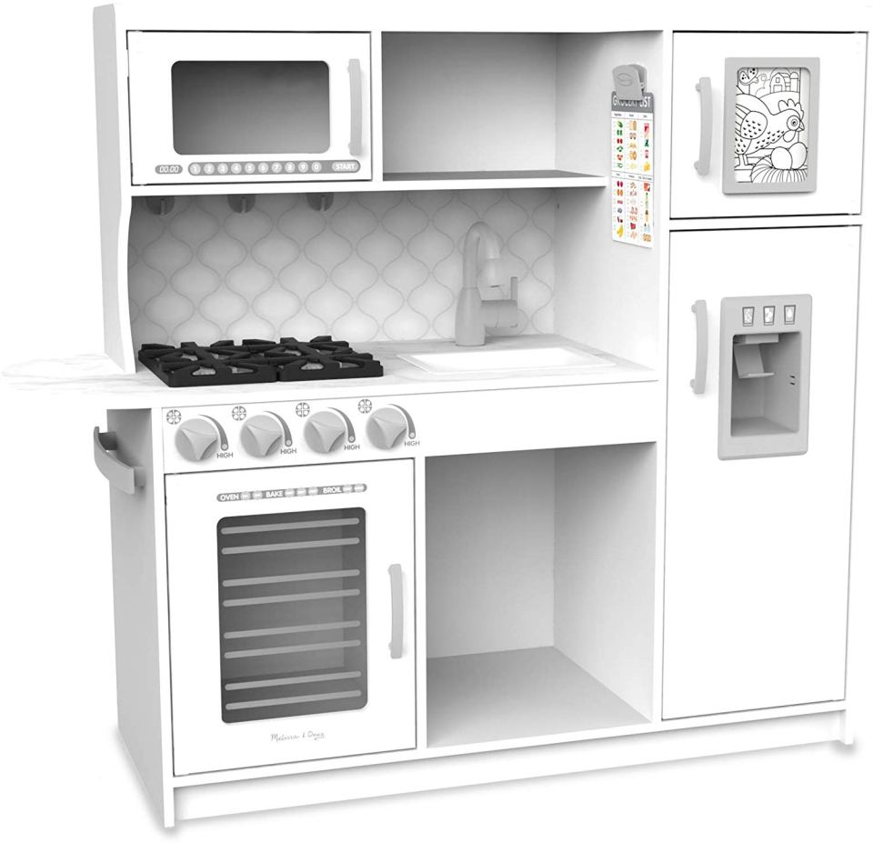 A white play kitchen makes great gift ideas for kids.