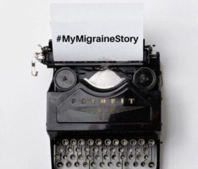 old fashioned typewriter with my migraine story on the paper