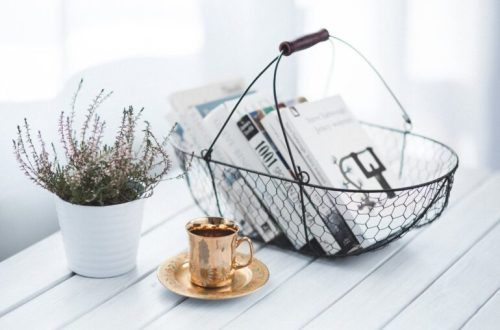 a wire basket filled with best books for migraine with a copper cup and saucer in front and a plant in a white planter on a white slatted table
