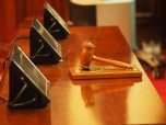 gavel on judge table