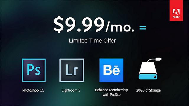 Photoshop CC y Lightroom 5 por 9,99 dólares al mes