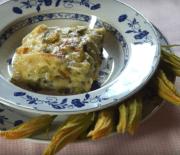Lasagna de espárragos y flores de calabaza