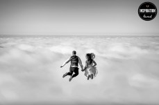 Wedding photo of jump above the clouds, Madeira Island