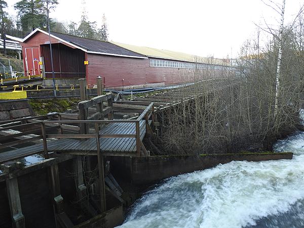 Käytiin viime viikon lauantaina kävelyllä tuon tehtaan ympäristössä. Tuonne jokeen ei olisi tehnyt mieli tippua, virtaus oli melkoinen.