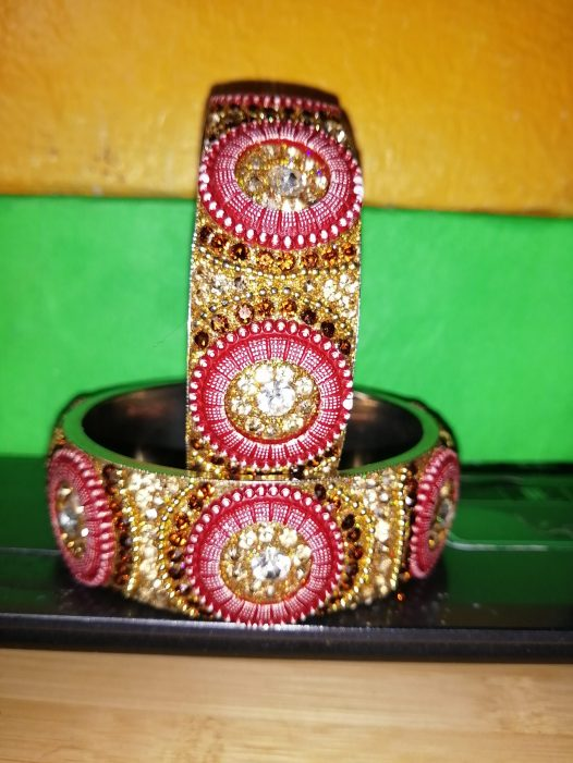 Burgundy Button Pattern Crystal Bangle Set Burgundy Button Pattern Crystal Bangle Set Burgundy buttons with Champagne and Clear crystals. 8 inches Bangles = 3.78 dia. Handcrafted Plus Size Statement Bangles SOLD AS A SET