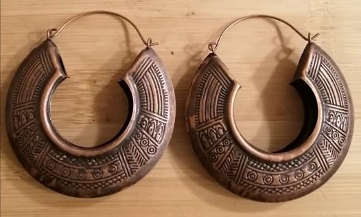 Maze Print Earrings - Rust Color