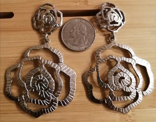 Rose Earrings - Silver