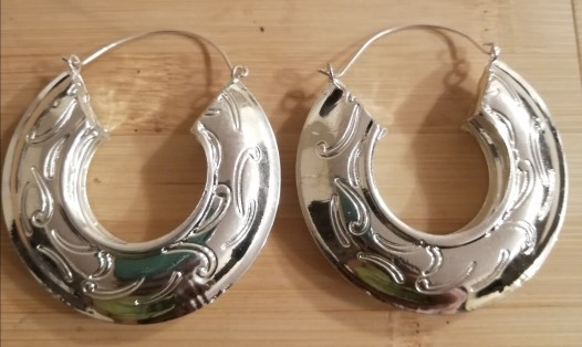 Medium Size Wave Print Earrings - Silver