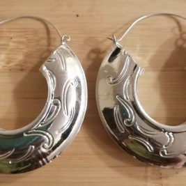 Medium Size Wave Print Earrings - Silver