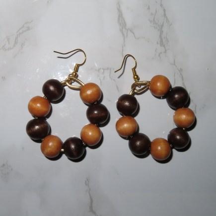 Circular wooden beaded earrings
