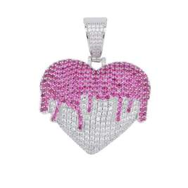 Bling heart necklace sterling silver