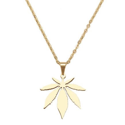 Cannabis flower necklace stainless steel