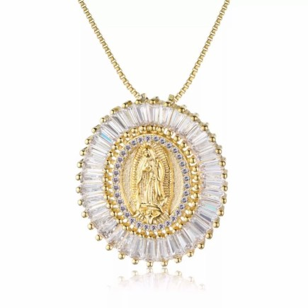 Ave maria sterling silver necklace