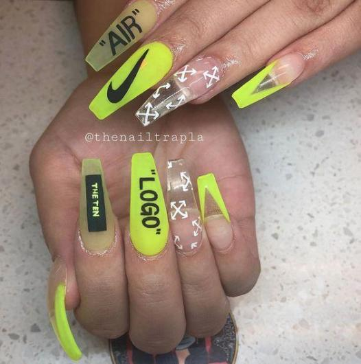 Just DID It Neon Nike - Pin Inspired - Pretty and Pressed Nails