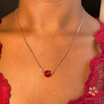 'Chéri' Necklace - Hibiscus by Elle Gold-filled necklace with beautiful , vibrant ruby red bead. Perfect Valentine's Day Gift. Valentine's day 2021. Valentines. Dainty chain necklace.