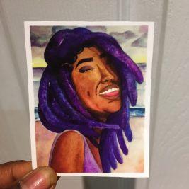 dreadlocks, smile, sticker, art, purple
