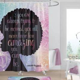 """Maya Angelou """"Amazing Afro"""" African American Shower Curtain"""