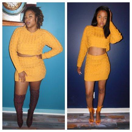 Yellow Two Piece Sweater Skirt Set
