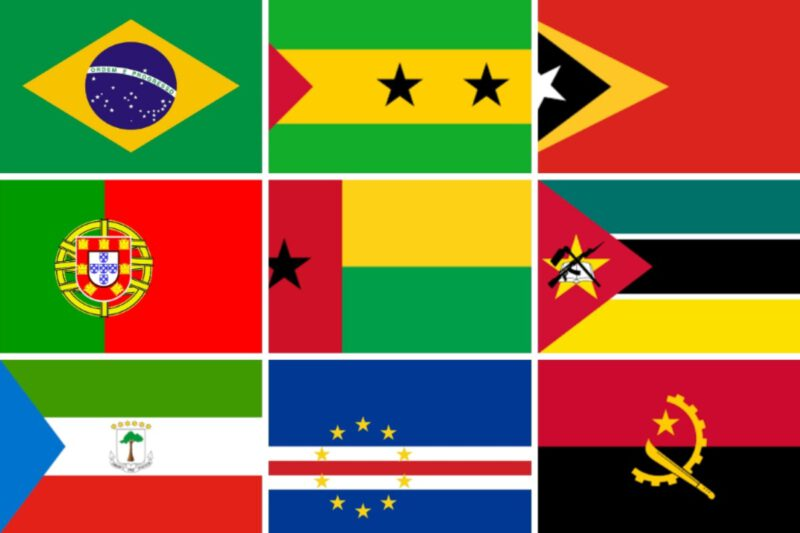 Afbeelding van de 9 vlaggen van landen waar Portugees gesproken wordt