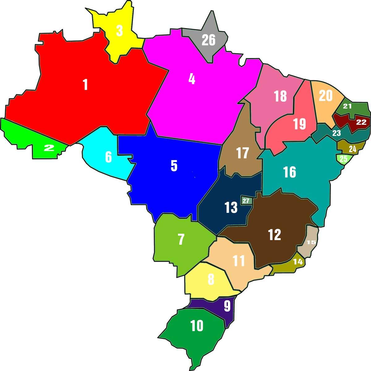 Mijnbrazilie-Brazilië-Landkaart-Brazilië-met-kleuren-en-nummers