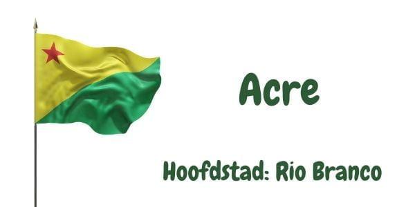 Vlag van de Braziliaanse deelstaat Acre met als hoofdstad Rio Branco