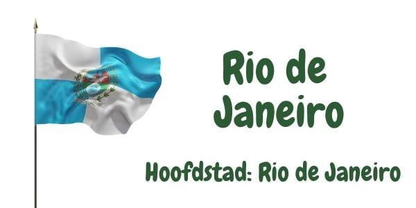 Vlag van de Braziliaanse deelstaat Rio de Janeiro met als hoofdstad Rio de Janeiro