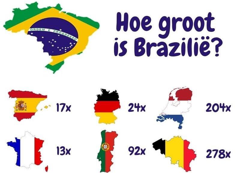 Hoe groot is Brazilië