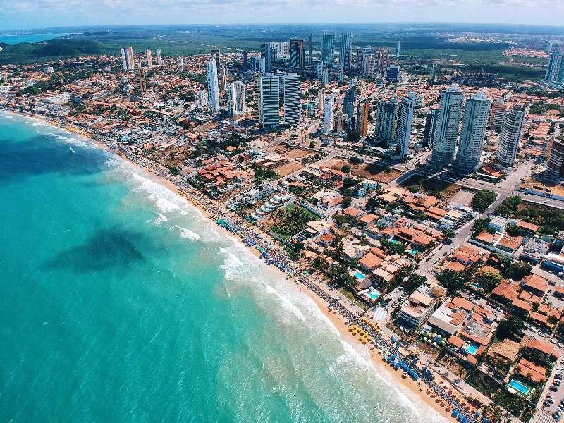 Natal-Ponta Negra-Dronefoto van Ponta Negra strand Natal Brazilië