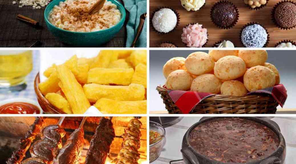 Zes verschillende Braziliaanse gerechten op een foto
