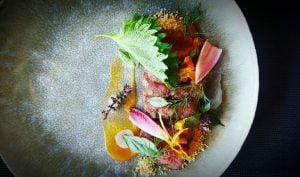 Fillet - thai marinade - shiso- peanut- tamarind in restaurant the cellar door in Playa Flamenca