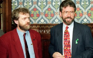 File dated 4.5.95 of Labour MP Jeremy Corbyn (left) with Sinn Fein President Gerry Adams, at the House of Commons last year. Labour bosses today (Weds) threatened to withdraw the whip from Corbyn unless he calls off his meeting with Adams at the Commons tomorrow. Photo by Louisa Buller. See PA Story POLITICS Adams Lead. ... Jeremy Corbyn and Gerry Adams file ... 25-09-1996 ... LONDON ... Photo credit should read: Unique Reference No. 1029095 ...