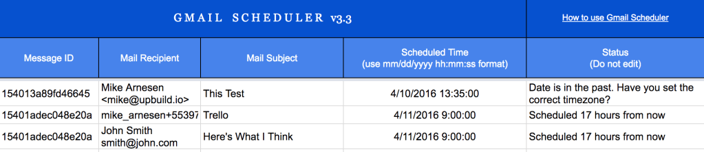 Scheduling emails using a Google Sheet