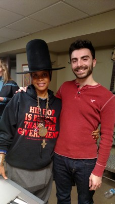 With Erykah Badu, after rehearsing with her for performance at 2015 Sundance Film Festival