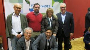 En la foto José Juan Gaforio, Cruz Guijarro, Rosa Marchal, Miguel Gª Capilla y Pepe con Vicente Cano.