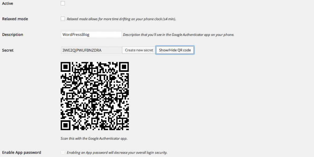 A screenshot of the Google Authenticator WordPress plugin